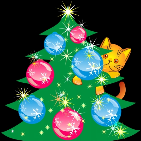 orange kitten bully made a mess in the house, climbed the Christmas tree, an illustration on a black background Stock Vector - 8567018