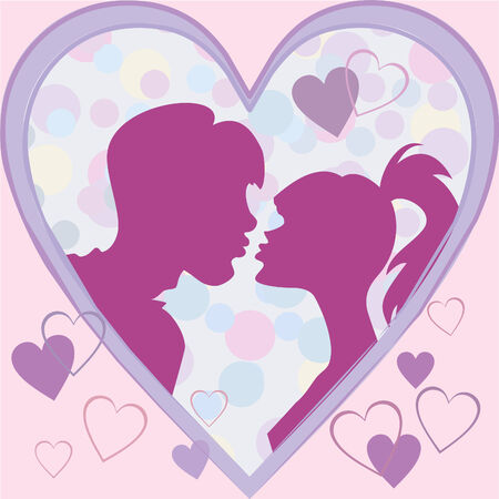 lovers kissing: silhouettes kiss a girl and a guy in a frame of hearts