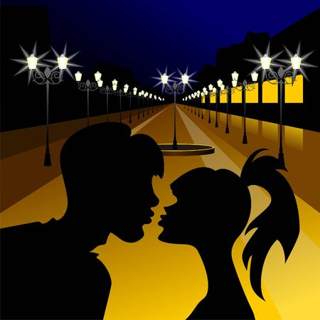 silhouette of a girl and a guy kissing against the evening the boulevard with lanterns