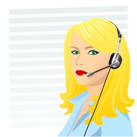 operador de teléfono rubia hermosa joven en auriculares Ilustración de vector