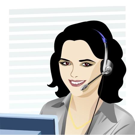 brown shirt: beautiful young girl smiling brunette phone operator in headphones