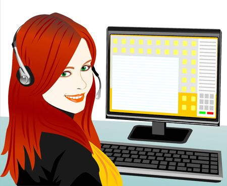 beautiful young girl Brown telephone operator in headphones in the workplace Stock Vector - 8597038