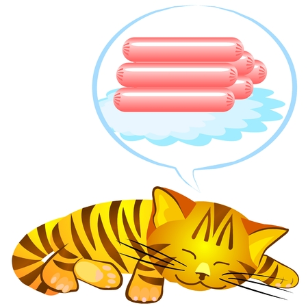 red tabby dreams of sausages Stock Vector - 8597041