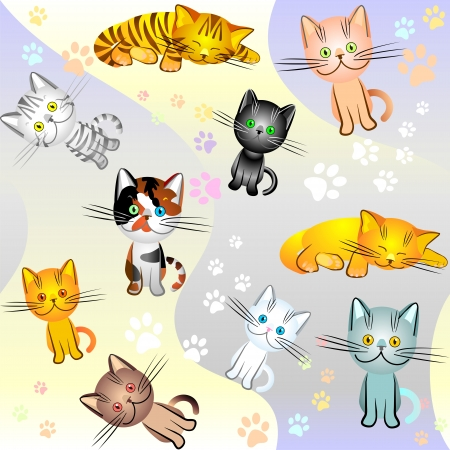background with a picture of kittens of different colors, plain, striped and spotted Vector