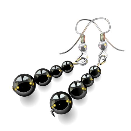 joyas de la mujer, aretes con piedras negras aisladas sobre fondo blanco, vector, ilustración, dibujo