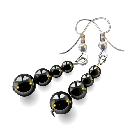 womens jewelry, earrings with black stones isolated on white background, vector, illustration, drawing