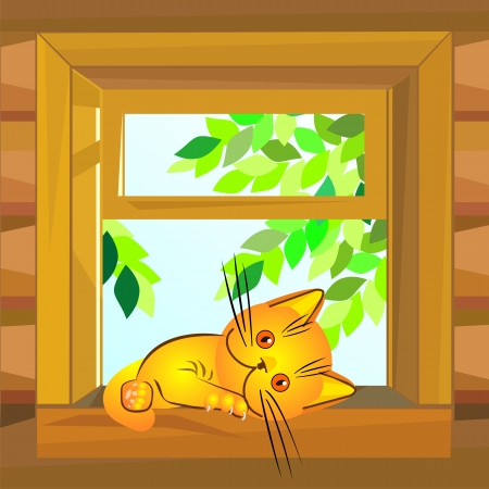 farmhouse: red cat on a summer day lies on a windowsill at the open window wooden farmhouse