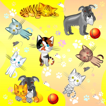 vector background with a picture of kittens and dog Stock Vector - 8670433