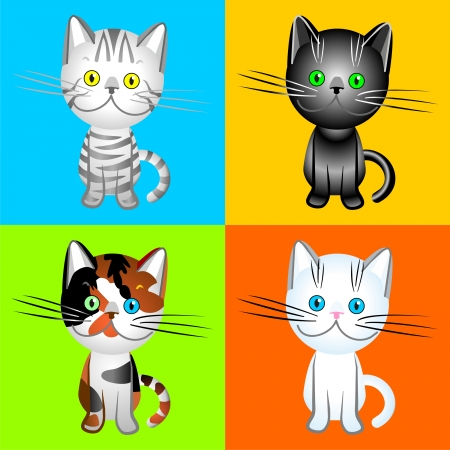 the British cats of vaus colors, black, white, tabby, tortie, drawing, illustration, vector Stock Vector - 8670430