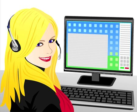 beautiful young girl blonde telephone operator in headphones in the workplace Stock Vector - 8670428