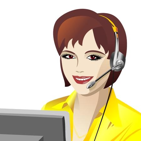 beautiful young girl smiling brunette phone operator in headphones Stock Vector - 8670429