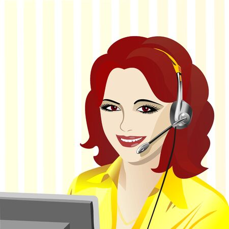 call centre girl: beautiful young girl smiling brunette phone operator in headphones