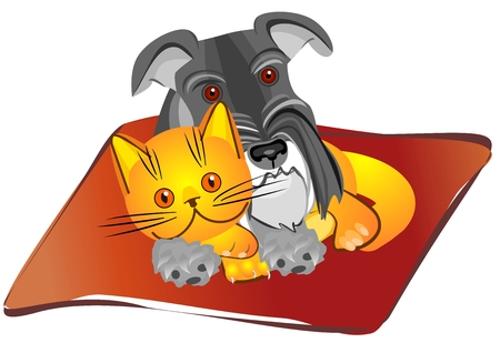 Miniature Schnauzer dog and British kitten lying on the rug in unison, drawing, vector illustration Stock Vector - 8670426