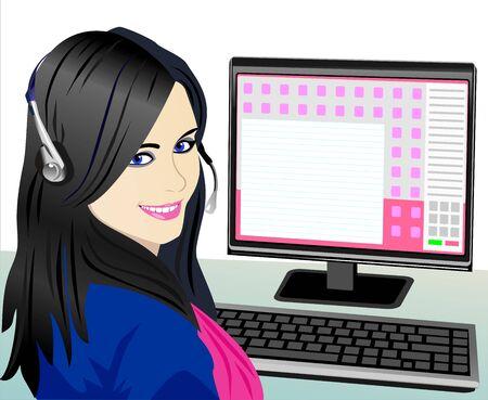ragazza al telefono: Vector bella ragazza bruna telefono operatore nelle cuffie sul posto di lavoro
