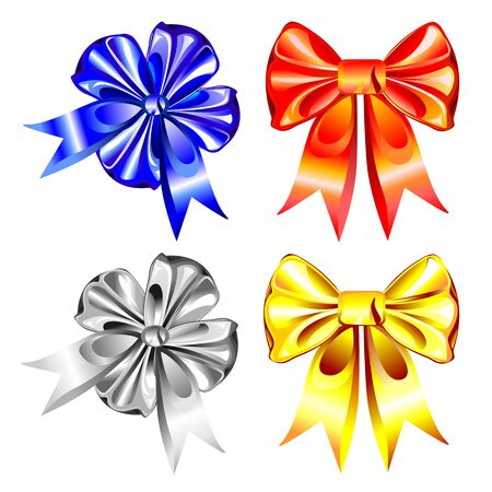 vector multi-colored bows of shiny ribbons of silver, gold, red and blue on a white background Stock Vector - 8670437