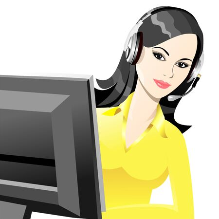 beautiful young girl smiling brunette phone operator in headphones Vector
