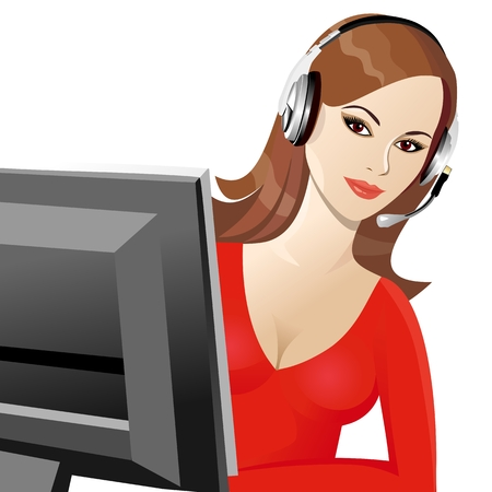 telephone operator: beautiful young girl smiling brown phone operator in headphones Illustration