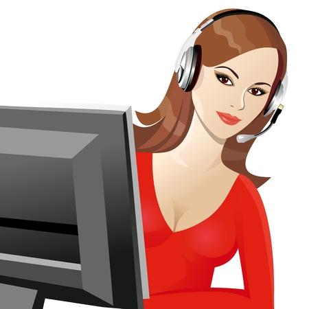 hermosa joven sonriente marrón operadora en auriculares