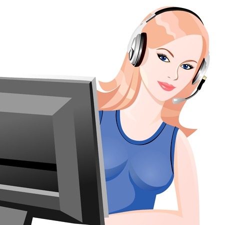 beautiful young girl smiling blond phone operator in headphones Stock Vector - 8769666