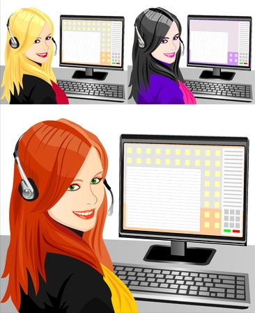 set of young beautiful girl telephone operator three color Illustration