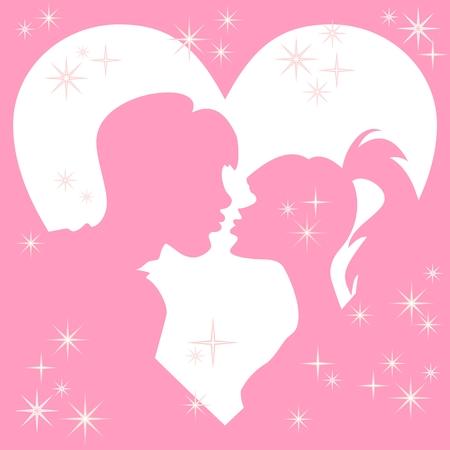 innamorati che si baciano: Vector sagome baciare una ragazza e un ragazzo in una cornice di cuori