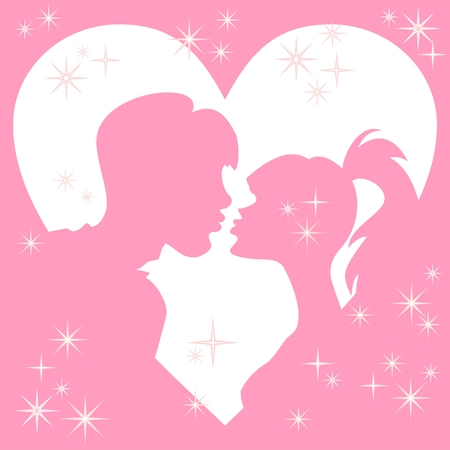 girls kissing: vector silhouettes kiss a girl and a guy in a frame of hearts