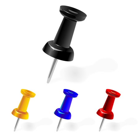 clerical: Black, yellow, red, blue pin hammer in a white sheet