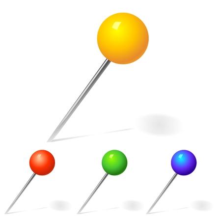 speld: Gele, rode, blauwe pin hamer in een wit vel