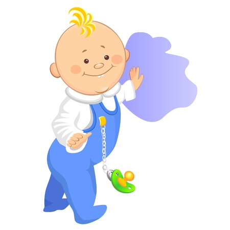 little boy takes the first step, holding on to the wall. One of a series of similar images Vector