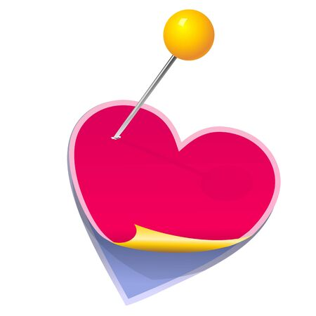 clerical: pink and blue stickers in the shape of a heart pinned clerical pin