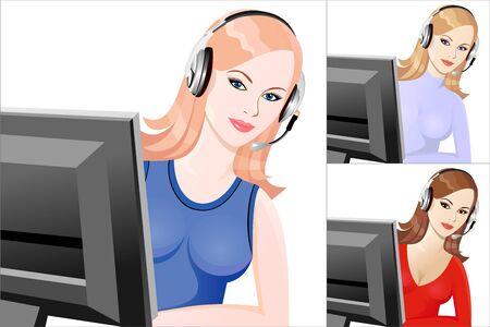 beautiful young girl smiling phone operator in headphones Stock Vector - 8886704