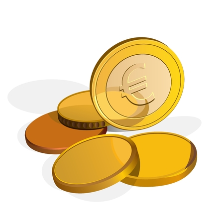euro coins: Euro coins, one stands on the edge