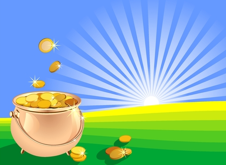 shiny metal pot filled with gold coins on the field against a background of sunrise Stock Vector - 8886713