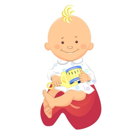 sonajero: ni�o con un traqueteo en la mano, sonriente, sentado en el orinal