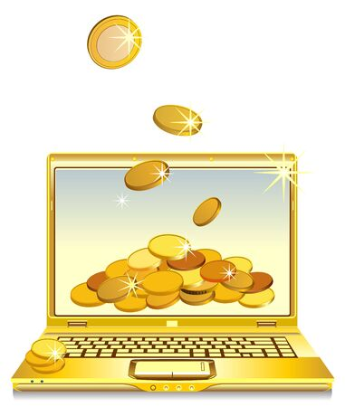 open notebook with gold gold coins on the screen Stock Vector - 8886723