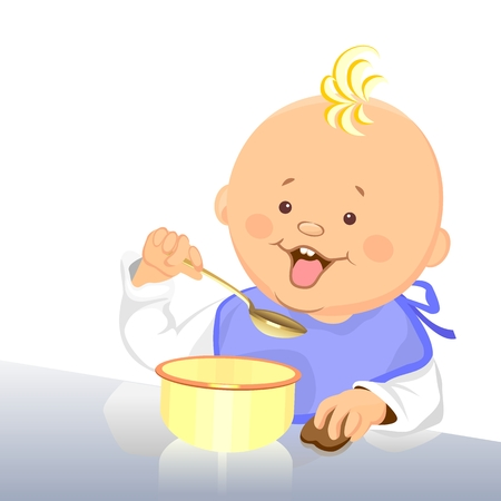eats: cute baby eats with a spoon from a bowl Illustration