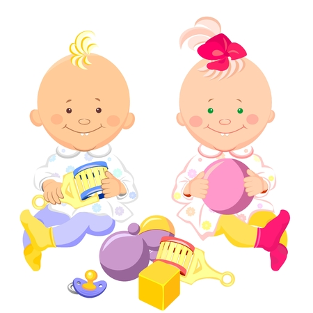 two little kids with a rattle and a ball in their hands are sitting and smiling  Vector