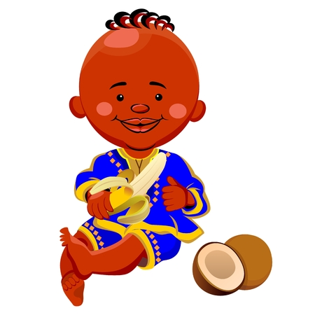 national costume: vector of a black boy in national costume and sits holding a banana, coconut is near Illustration