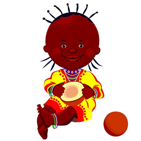 national costume: vector of a black girl in national costume and sits holding a coconut