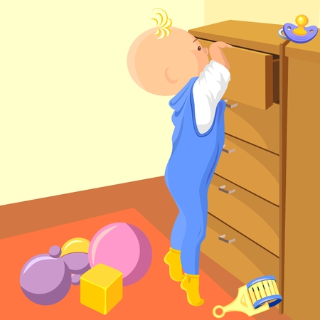tiptoe: vector boy stands on tiptoe and tries to get into the drawer