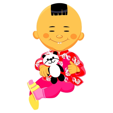 national costume: Chinese boy in national costume and sits holding a toy panda