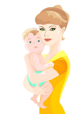 beautiful young mother holds a newborn son Stock Vector - 8978263