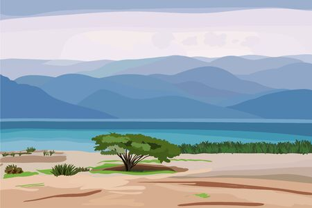 sea grass: beautiful seascape in pastel shades with a lone tree on the shore and the high mountains in the distance