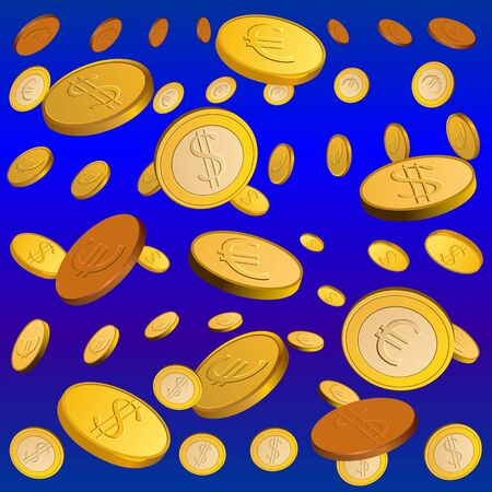 rain of gold coins on a blue background Vector