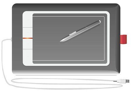 input device: tableta gr�fica de dispositivo de entrada plata sobre un fondo blanco Vectores
