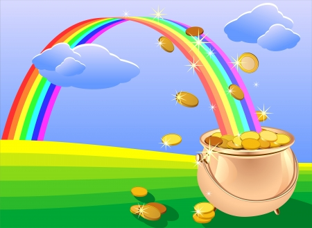 abundance: vector shiny metal pot filled with gold coins and rainbow on the field