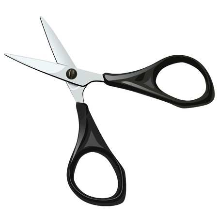 stationery short scissors with black plastic handle