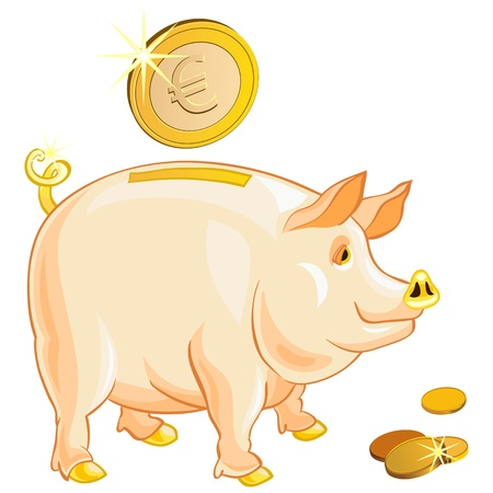 currency glitter: pig-piggy bank with gold coins isolated on a white background