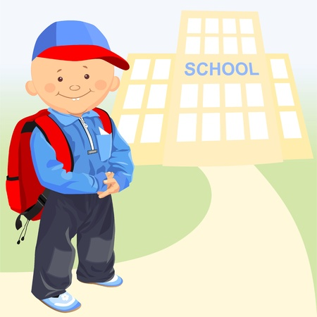 little happy schoolboy with a backpack on the background of the school Stock Vector - 9399014