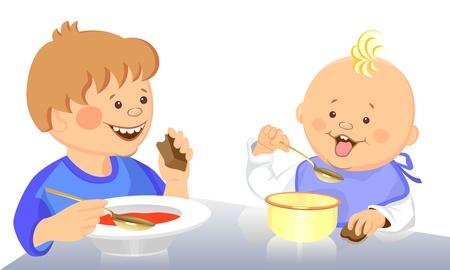 kid eat: lindo beb� y ni�o de poco comer�n con una cuchara de un cuenco